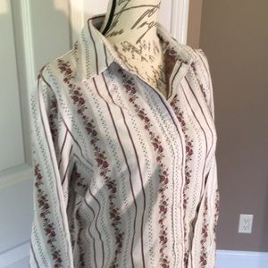 White Stag Long sleeve button down floral stripes